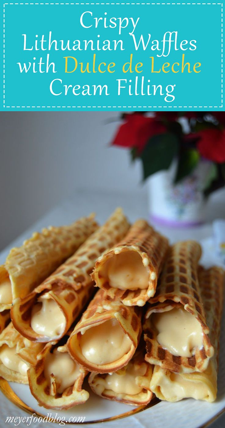 These crispy Lithuanian waffles are made perfect with the fantastic dulce de leche cream filling made with a hint of liqueur.