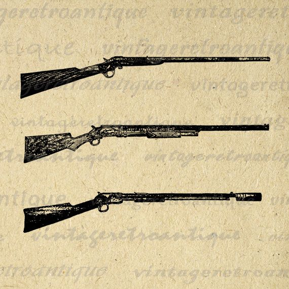 Antique Guns Printable Digital Download Rifle Illustration Graphic Shotgun Image Vintage Clip Art. High resolution printable digital graphic image. This vintage high quality digital artwork can be used for printing, iron on transfers, tea towels, papercrafts, and more great uses. Real antique clip art. Great for etsy products. This image is large and high quality, size 8½ x 11 inches. Transparent background version included with every graphic.