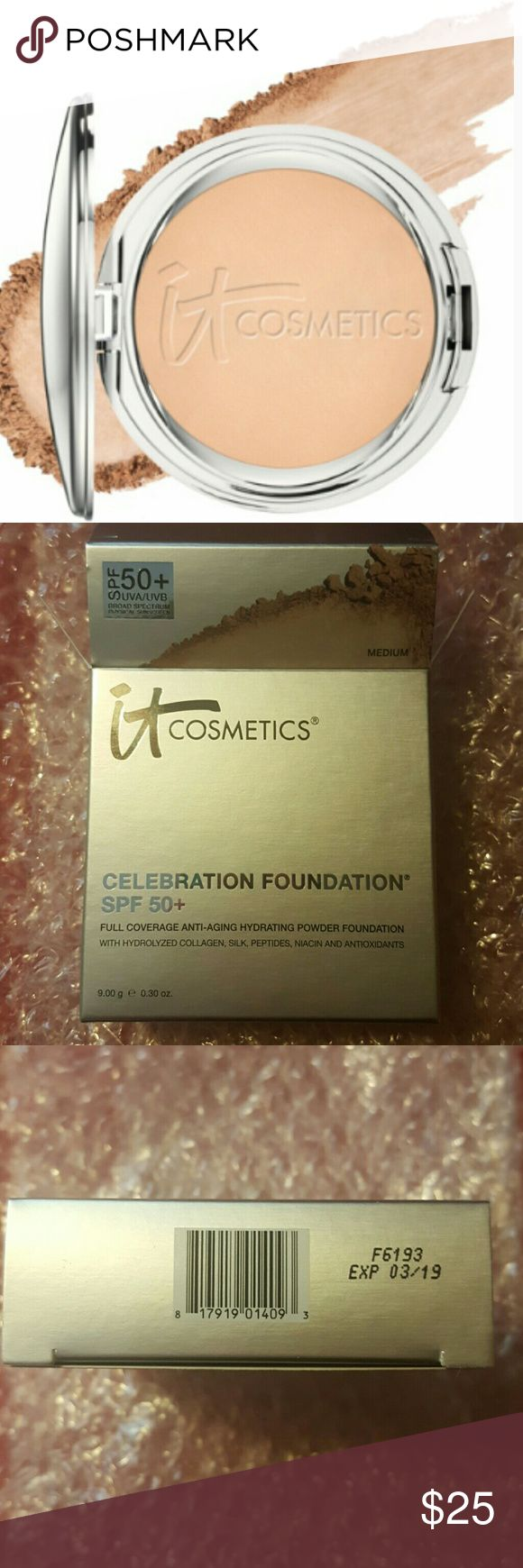 New It Cosmetics Celebration Foundation SPF 50+ Brand new It Cosmetics Celebration Powder Foundation SPF 50+ in shade Medium. Celebration Foundation SPF 50+ is your hydrating, full-coverage powder foundation. Rich in peptides, hydrolyzed collagen, hyaluronic acid, grape seed oil, and other antiaging ingredients, this foundation is highly pigmented, delivering full coverage in 30 seconds. Now with SPF 50+ physical-only, broad-spectrum sunscreen, you can treat and protect your skin while…