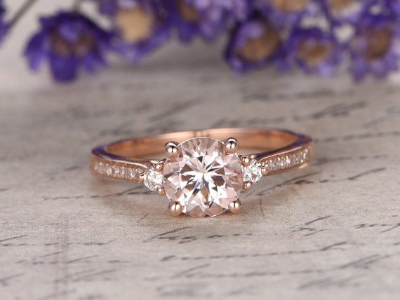 morganite engagement ring with diamondsolid 14k rose goldpromise ring bridal65mm round custom made fine jewelrypave set - Morganite Wedding Ring