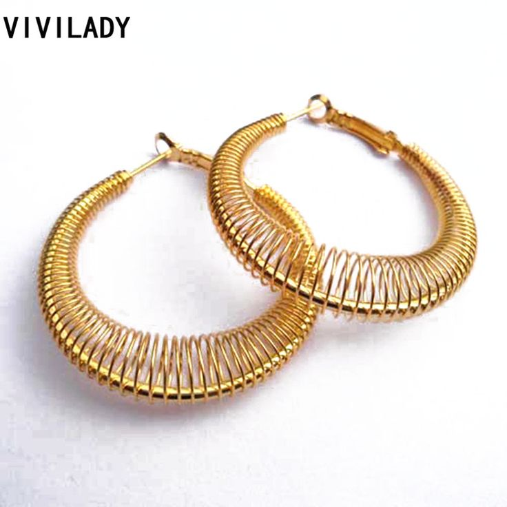 VIVILADY Fashion New Lead Nickel Free Women Gold Plated Spring Hoop Earrings Trendy Jewelry Bijoux Accessory Birthday Party Gift