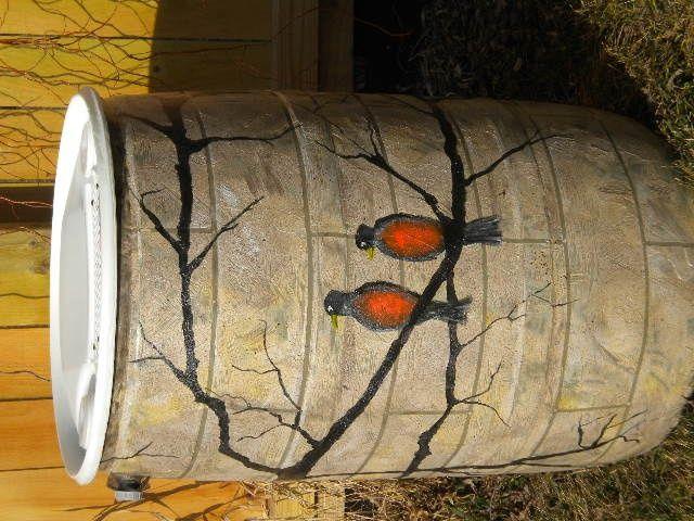 Painted Rain Barrels For Sale | Custom painted rain barrel | rain barrels