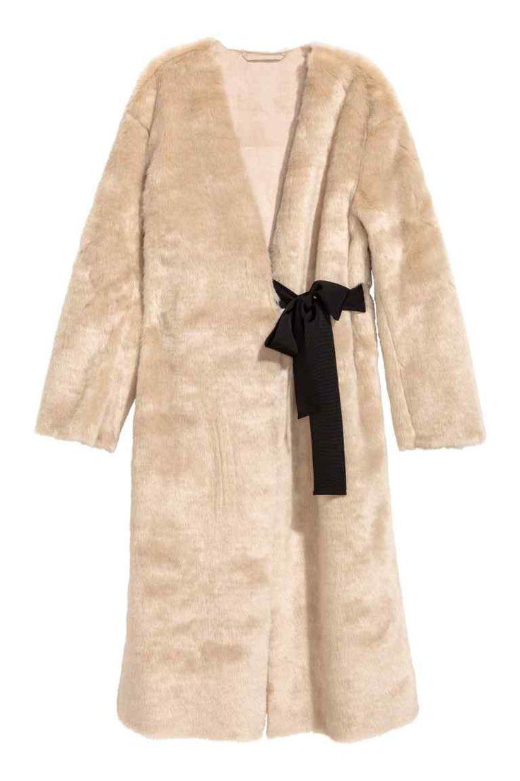 Faux fur coat - Beige - Ladies   H&M GB