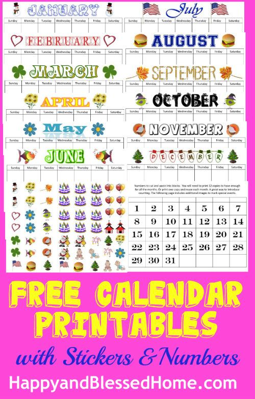 free-calendar-printables-with-stickers-and-numbers from HappyandBlessedHome.com