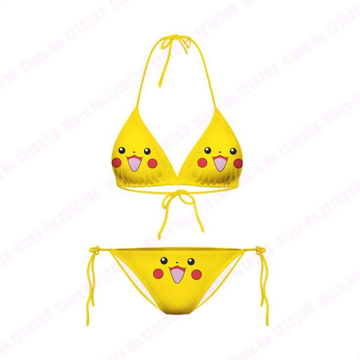 Carino, Smiley Pikachu Costumi da bagno a due pezzi Squirtle Beachwear 3D Stampa Cartoon Pokemon Go Bikini Jigglypuff Costume da bagno sexy