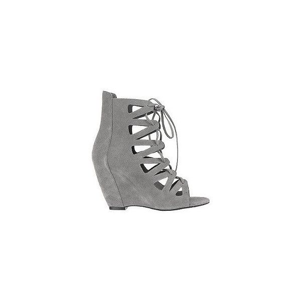 Deena & Ozzy Suede Lace Wedge Bootie (3,215 INR) ❤ liked on Polyvore featuring shoes, boots, ankle booties, heels, wedges, обувь, suede wedge booties, wedge ankle boots, suede lace-up booties and suede ankle boots