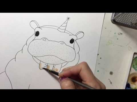 Hippo party animal - watercolor speed painting. Prints for nurseries and children's rooms available: www.etsy.com/listing/161296201
