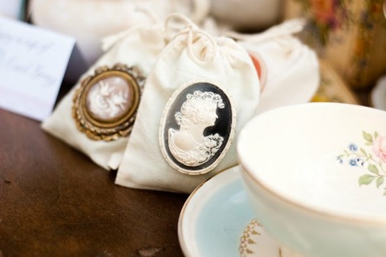 Victorian shower cameo gift bag wedding pinterest for Victorian tea party favors