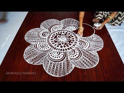muggulu designs without dots    free hand rangoli designs    muggulu designs    kolam designs - YouTube