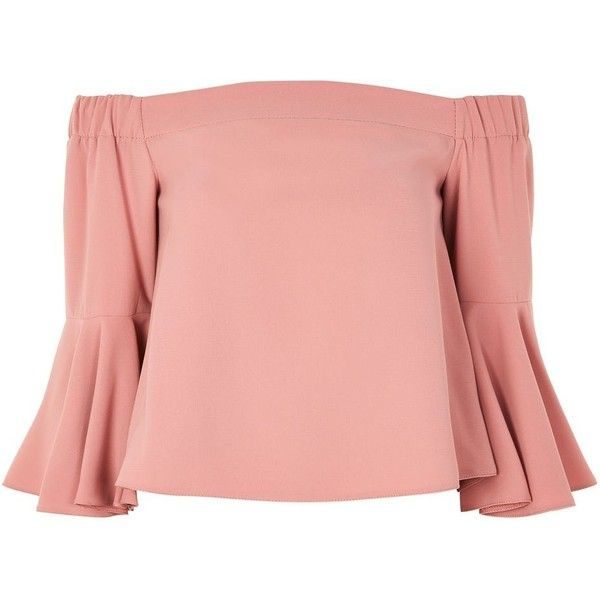 Topshop Flute Sleeve Bardot Top ($44) ❤ liked on Polyvore featuring tops, dusty pink, pink top, off the shoulder tops, off shoulder tops, sleeve top and dusty pink top