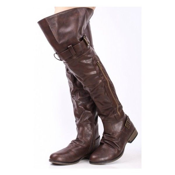 BROWN FAUX LEATHER OVER THE KNEE RIDING BOOTS ($32) ❤ liked on Polyvore featuring shoes, boots, over the knee boots, over-knee boots, knee-high lace-up boots, knee high lace up boots, knee high combat boots and ankle boots
