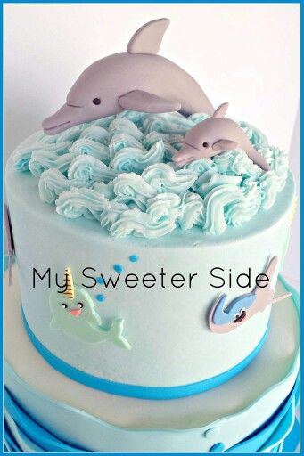 Dolphins cake topper on buttercream waves   Bday-Dolphin ...