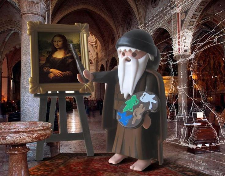 """Dois sorrisos se encontram em uma foto! Viva Leonardo """"playmobil"""" da Vinci!"""