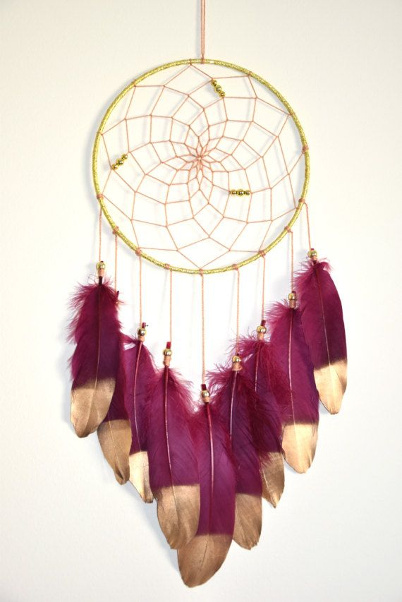 Bohemian Dream Catcher Decor, Maroon Dream catcher, Gold Bedroom Wall Decor, Boho Wall Hanging, Girls Bedroom Decor This beautiful maroon dreamcatcher is perfect for a baby nursery or used as bohemian bedroom wall decor! Great for a Baby Shower, Christenings, Wedding gift or