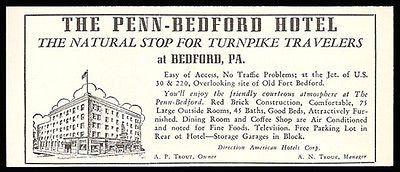 Penn Bedford Hotel Ad Bedford Pennsylvania Turnpike 1954 Roadside Ad Travel