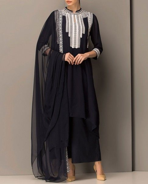 Midnight Blue Indian Suit with Asymmetric Hem - AM:PM - Designers