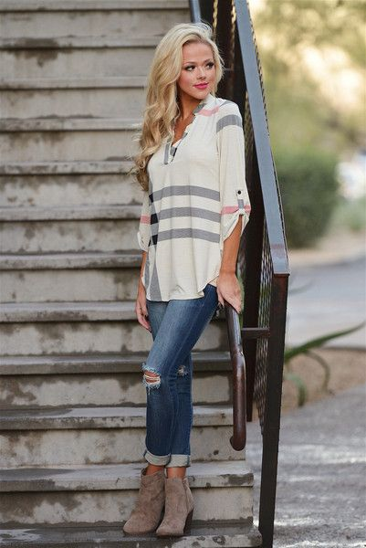 Office Hours Plaid Top - Beige from Closet Candy Boutique #fashion #ootd