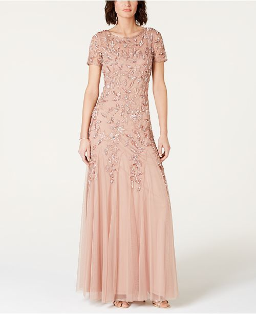 d898f02e5e6 Adrianna Papell Floral-Beaded Gown   Reviews - Dresses - Women - Macy s
