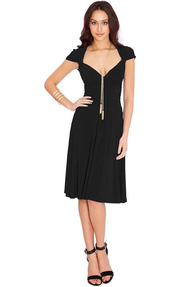 Beautiful Black Skater Evening Party Midi Dress Queen Anne Neckline Size 8 / S
