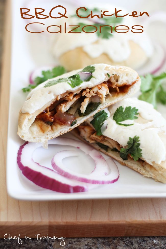 BBQ Chicken calzones - boys LOVED it! used boiled chicken and pizza ...