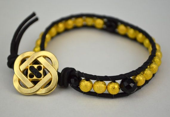 Asymmetric Gitz and Gold Genuine Leather Wrap by DizzleDesigns