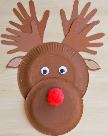 Reindeer made with paper plates and cardboard step by step!!!