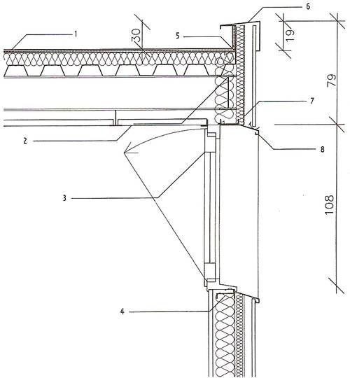 Coupe-type sur une toiture-terrasse plate avec étanchéité posée sur un bac support 1. Étanchéité auto-protégée 2.Faux plafond acoustique 3.Menuiserie avec ouvrant 4. Ossature secondaire de façade 5.Costière acier galvanisé 6.Couvertine en tôle laquée 7.Pare-pluie 8.Précadre