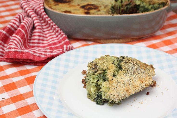 Ovenschotel met gehakt en puree van broccoli en spinazie