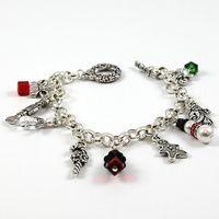 Christmas Charm Bracelet - Swarovski Crystal & TierraCast Charms