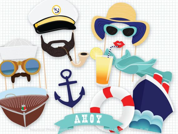 Nautical Photo Booth Props, Cruise Photobooth Props, I'm on a Boat, Navy, Anchors Away, Sailor, Boat Party, Sailor, Birthday Party, Wedding