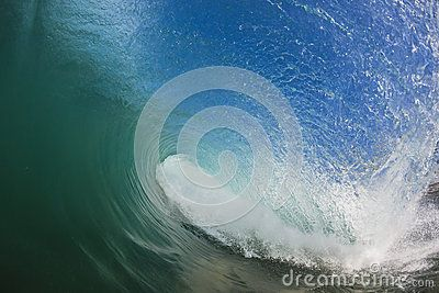 Inside Hollow pitching wave curls over onto the shallow reef below with white foam ball.