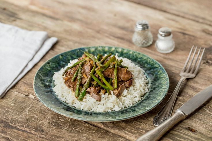 Ginger Beef Stir-Fry with Hoisin, Asparagus, and Basmati Rice. We're welcoming back a HelloFresh classic! Tender beef and crisp asparagus are quickly stir-fried with warming ginger and served over fluffy basmati rice. Hoisin sauce adds a touch of sweetness and depth of flavor.