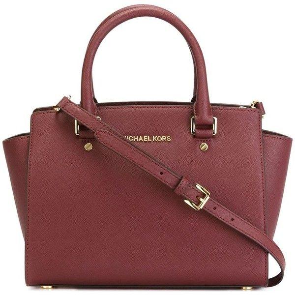 MICHAEL MICHAEL KORS 'Selma' tote (525 AUD) ❤ liked on Polyvore featuring bags, handbags, tote bags, purses, genuine leather tote, burgundy leather handbag, red purse, leather purse and red leather purse