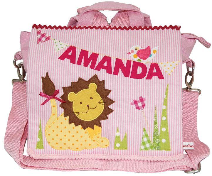 Kindergartentaschen - Kindergartenrucksack mit Namen -Kleiner Löwe - ein Designerstück von wohnzwerg bei DaWanda