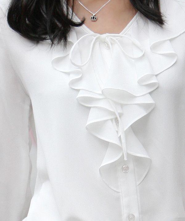 Moda Ruffles Señora blanco traslúcido Gasa tamaño S-XL de oficina más popular de las mujeres elegantes ocasionales adelgazan Soft Blusa D1284