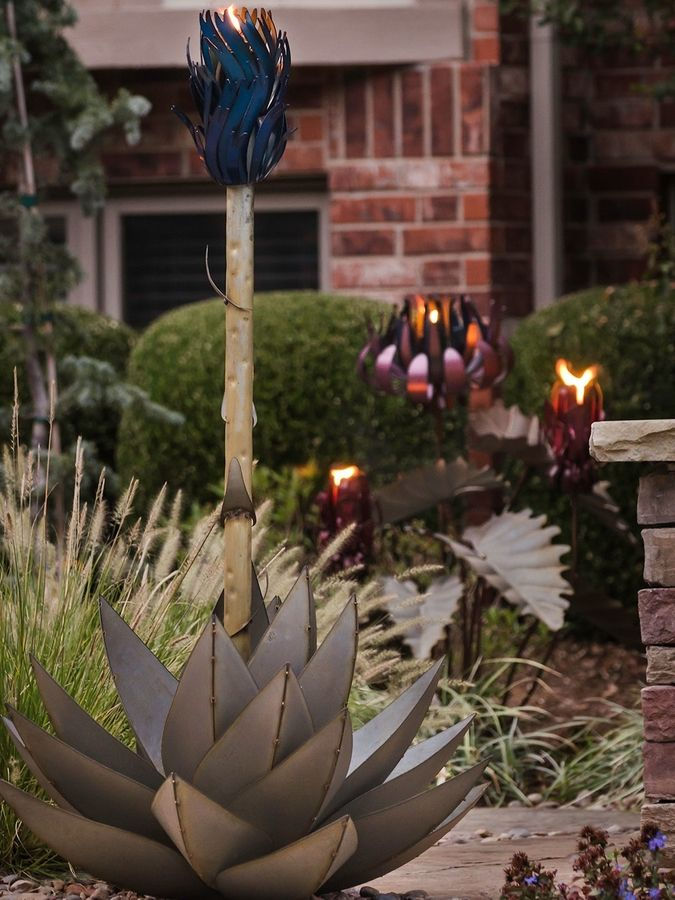 Desert Steel Large Blue Agave Garden Torch