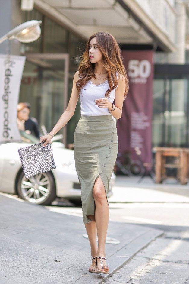 Side Button Long Skirt