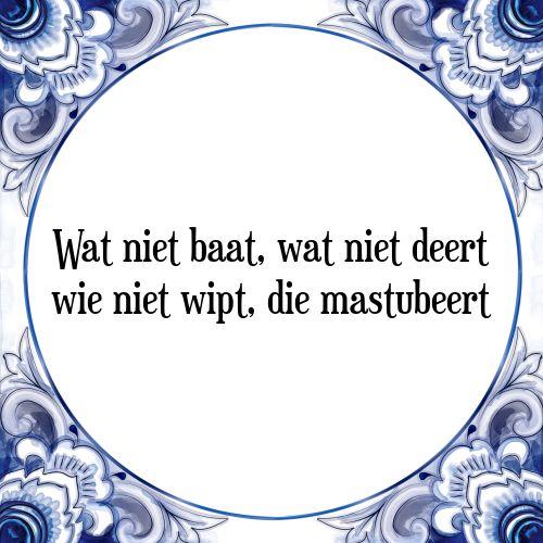 Wat niet baat, wat niet deert wie niet wipt, die mastubeert - Bekijk of bestel deze Tegel nu op Tegelspreuken.nl