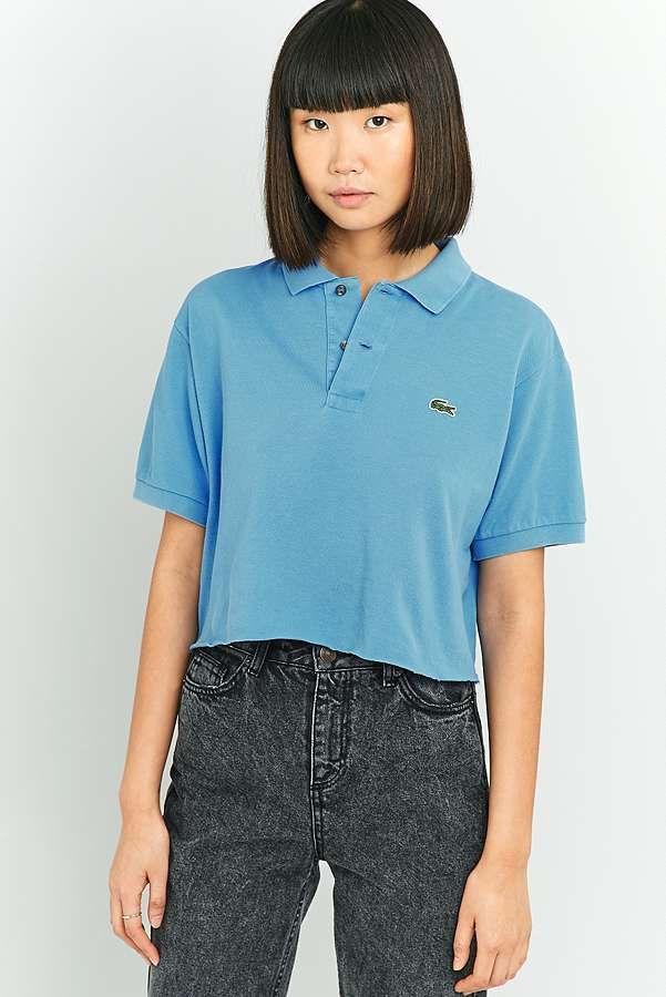 Slide View: 1: Urban Renewal Vintage Customised Raw Cut Branded Blue Polo Shirt
