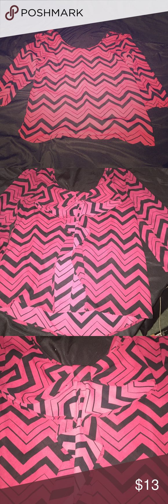 Black and red chevron blouse with bow in back Black and red chevron blouse with bow in back. Charlotte Russe size medium. Never worn! Very cute. Sleeves have elastic bands. Charlotte Russe Tops Blouses