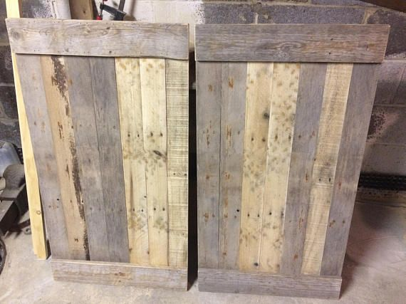 Rustic Reclaimed Wood Shutters  *Local Pickup Only*  Approximate size is 22 Wide by 38 long.  Custom sizes available, for widths less than 26 and lengths less than 40, you can place the order here and note the dimensions that you need. For sizes larger than those, contact me and Ill price it