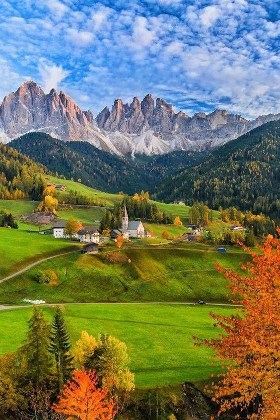 The colors of autumn in Santa Maddalena, Dolomites.