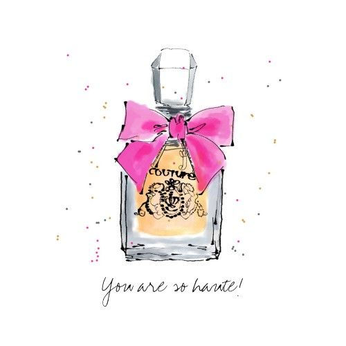 Haute Couture Watercolor Perfume Art Card by elainebiss