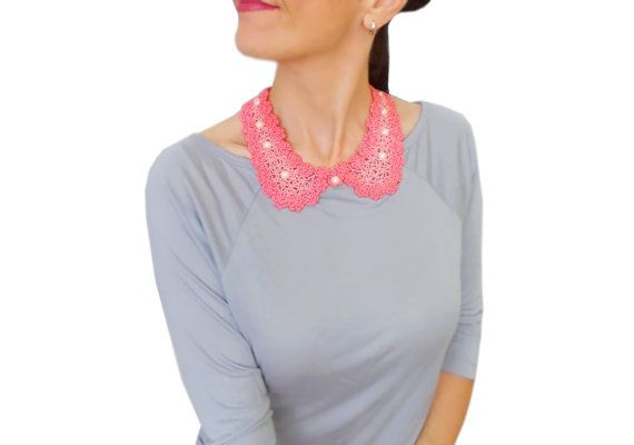 Pink Beaded Peter Pan Collar, Vintage Style, Preppy, Detachable collar, FREE SHIPPING, Cij Sale, Pretty gift ideas