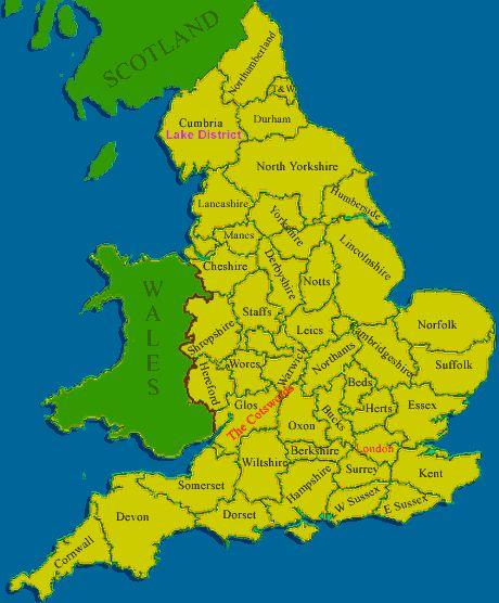 mapa Anglie Velk Britnie England