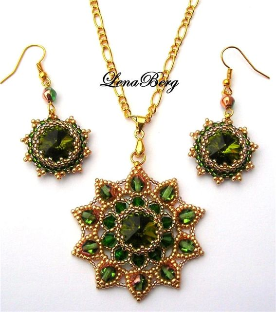 Green and gold beaded pendant and earrings with crystals and seed beads. Pictorial tutorial with over 30 photos. Lena Berg
