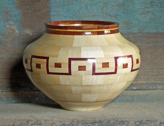 Maple Wood Bowl Segmented Woodturning by BarrettWoodShop on Etsy, $295.00