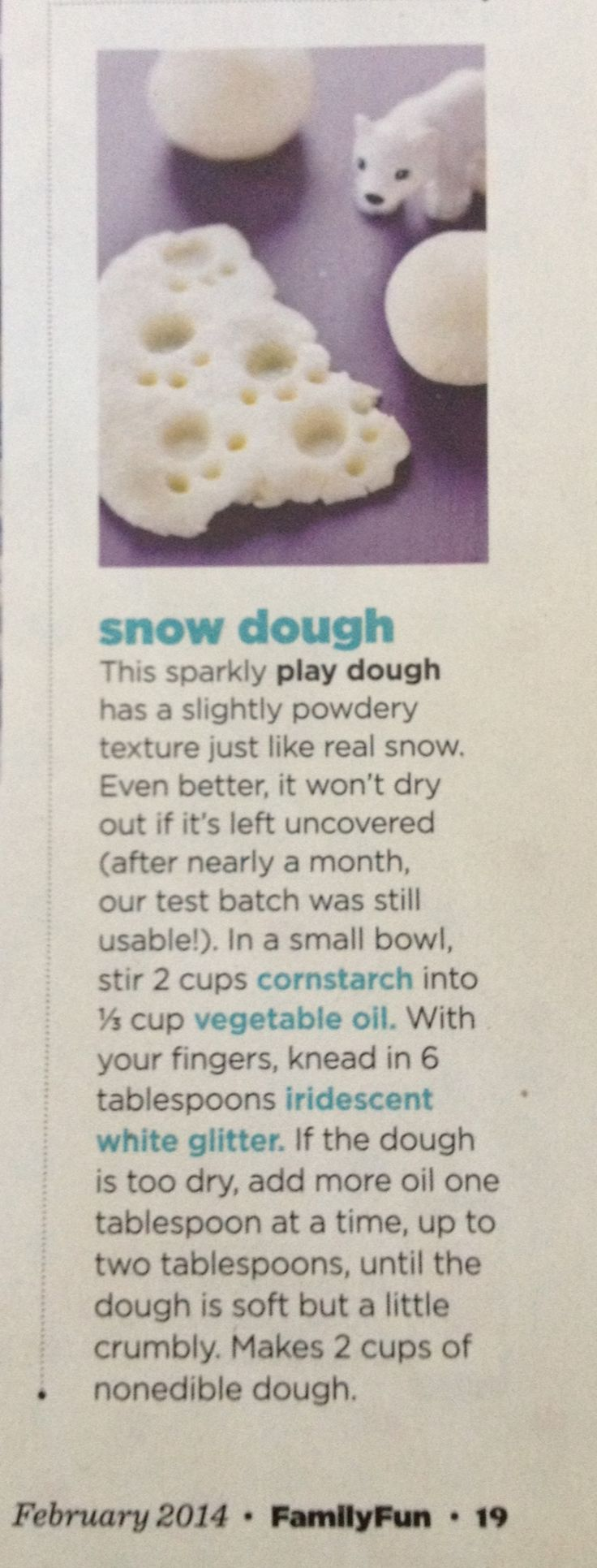 Snow Dough from Family Fun Magazine, February 2014