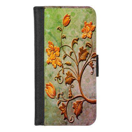 Floral Accent Victorian Pattern Background  Art iPhone 8/7 Wallet Case - patterns pattern special unique design gift idea diy