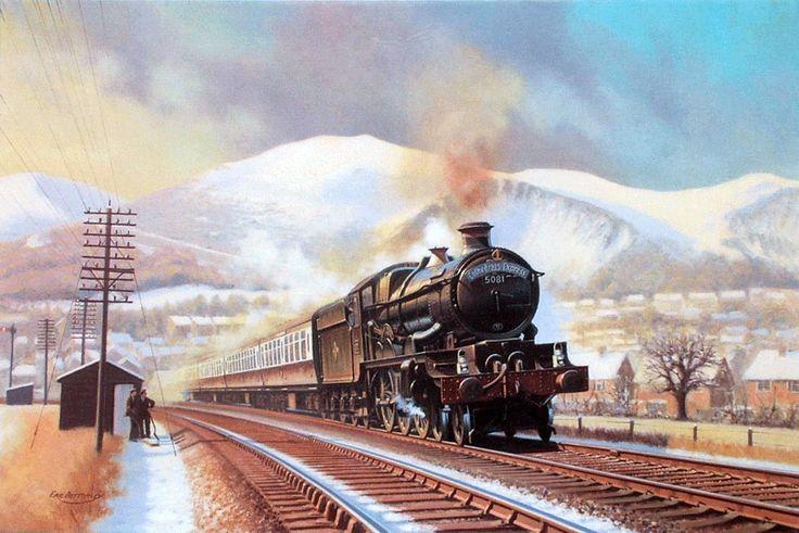 Railway Artist: Eric Bottomley GRA.CATHEDRALS EXPRESS AT MALVERN.18